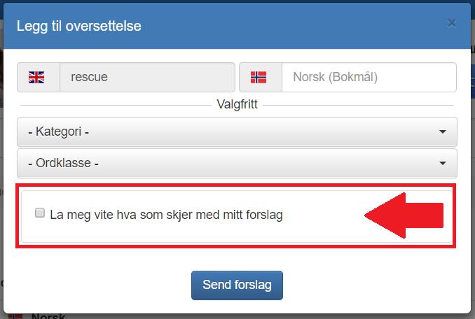 e-post-varsling på DinOrdbok